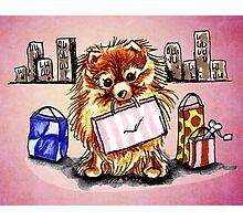 Pomeranian Shopping Day Pink Photographic Print