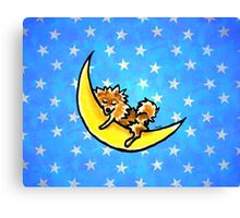 Pomeranian Yellow Moon Silver Stars Canvas Print