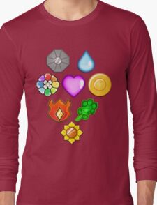 Pokémon! Gym Badges! Long Sleeve T-Shirt