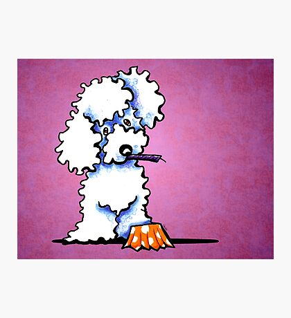 White Poodle Cupcake Thief Purple Photographic Print