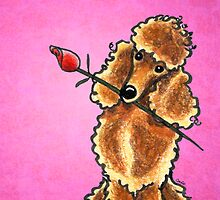 Apricot Poodle with Rose Pink by offleashart