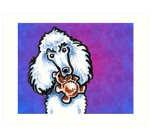 White Standard Poodle with Teddy Bear Purple Art Print