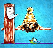 Pug Fun with Fish Dock Dog by offleashart