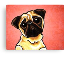Fawn Pug Listen Up Red Canvas Print
