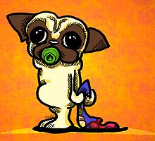 Pug Baby with Pacifier Orange by offleashart