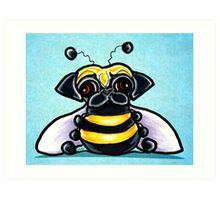 Pug as a Bumble Bee Blue Art Print
