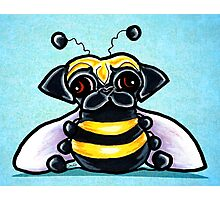 Pug as a Bumble Bee Blue Photographic Print