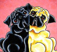 Black and Fawn Pug Hug Red by offleashart