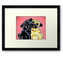 Black and Fawn Pug Hug Red Framed Print