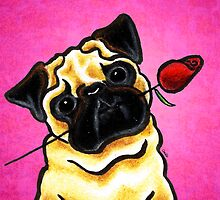 Pug with Rose Pink by offleashart