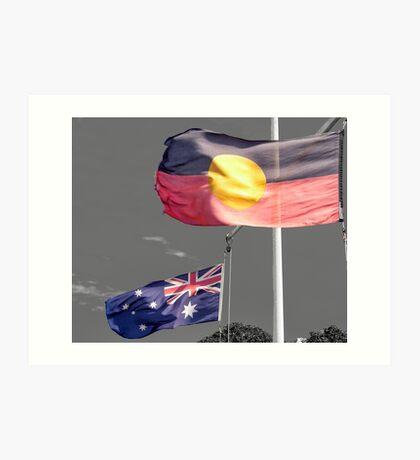 Aborigine & Australian Flags Art Print