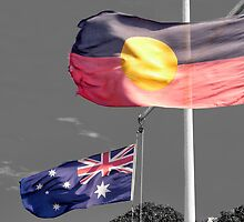 Aborigine & Australian Flags by V1mage