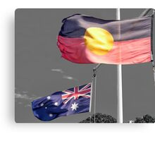 Aborigine & Australian Flags Canvas Print
