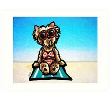 Yorkie Beachside Art Print