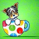 Biewer Yorkie in Polka Dot Mug Green by offleashart