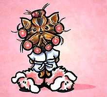 Yorkie in Robe and Bunny Slippers Pink by offleashart