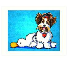 Biewer Yorkie with Duck Toy Art Print