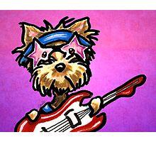 Yorkie with Rockstar Sunglasses and Guitar Purple Photographic Print