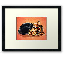 Yorkie Ladybug Bow Sleeping Red Framed Print
