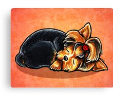 Yorkie Ladybug Bow Sleeping Red Canvas Print
