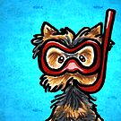 Yorkie in Snorkel Mask with Fishes by offleashart