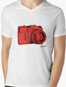 Red Russian Camera Mens V-Neck T-Shirt