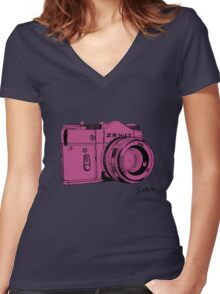 Pink Russian Camera Women's Fitted V-Neck T-Shirt