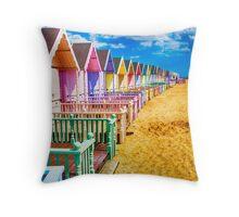 Pastel Beach Huts 2 Throw Pillow