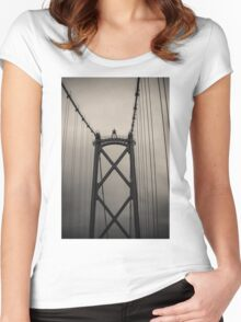 Lions Gate Bridge Abstract Black And White Women's Fitted Scoop T-Shirt