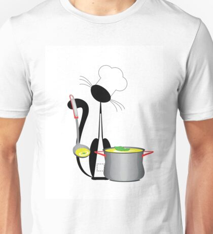 An illustration of a cat the cook with a pan Unisex T-Shirt