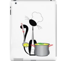 An illustration of a cat the cook with a pan iPad Case/Skin