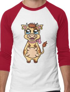 funny cartoon cow Men's Baseball ¾ T-Shirt