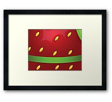 Beautiful strawberry background texture with green ribbon Framed Print