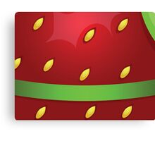 Beautiful strawberry background texture with green ribbon Canvas Print