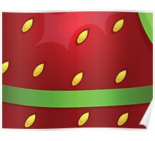 Beautiful strawberry background texture with green ribbon Poster