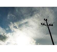 Silhouetted power pole  Photographic Print