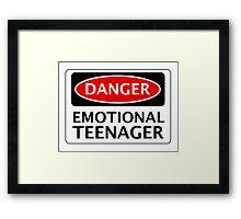 DANGER EMOTIONAL TEENAGER FAKE FUNNY SAFETY SIGN SIGNAGE Framed Print