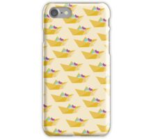 Origami cats on a paper boat iPhone Case/Skin