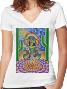 CHANGA WARRIOR Women's Fitted V-Neck T-Shirt