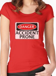 DANGER ACCIDENT PRONE, FAKE FUNNY SAFETY SIGN SIGNAGE Women's Fitted Scoop T-Shirt