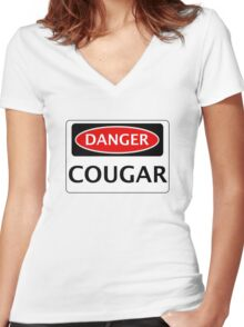DANGER COUGAR, FAKE FUNNY SAFETY SIGN SIGNAGE Women's Fitted V-Neck T-Shirt