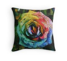 Rainbow Rose painting Throw Pillow