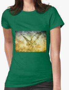 I Shall Return-great grey owl in flight Womens Fitted T-Shirt