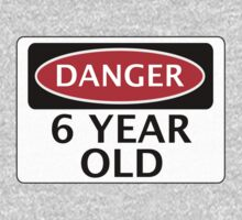 DANGER 6 YEAR OLD, FAKE FUNNY BIRTHDAY SAFETY SIGN by DangerSigns