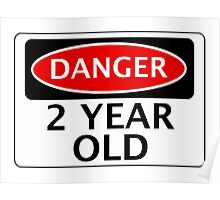 DANGER 2 YEAR OLD, FAKE FUNNY BIRTHDAY SAFETY SIGN Poster