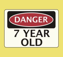 DANGER 7 YEAR OLD, FAKE FUNNY BIRTHDAY SAFETY SIGN One Piece - Short Sleeve
