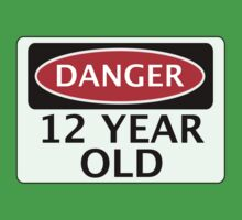 DANGER 12 YEAR OLD, FAKE FUNNY BIRTHDAY SAFETY SIGN Baby Tee