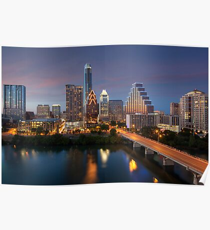 Austin Skyline Images - Congress Bridge and Downtown Austin Poster