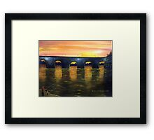 Sunrise Fishing By The Old Bridge Framed Print