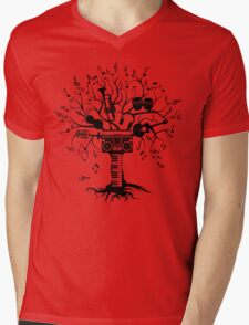 Melody Tree - Dark Silhouette Mens V-Neck T-Shirt